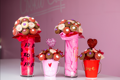 valentine's day cookie cups bouquets
