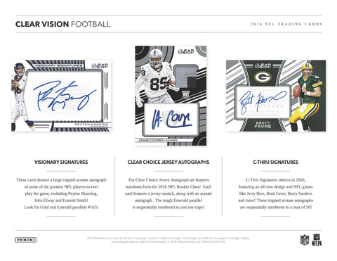 2016 Panini Clear Vision Football 18 BOX FULL MASTER CASE BREAK PYT #2 BEST PRICES !!