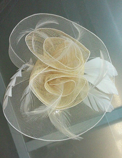 Natural Tone Fascinator Hat w/ Feathers