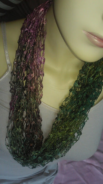 Silk Hand-dyed Open-Weave Necklace Scarf