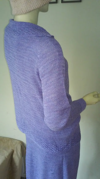 Purple Hand Knit Skirt and Cardigan