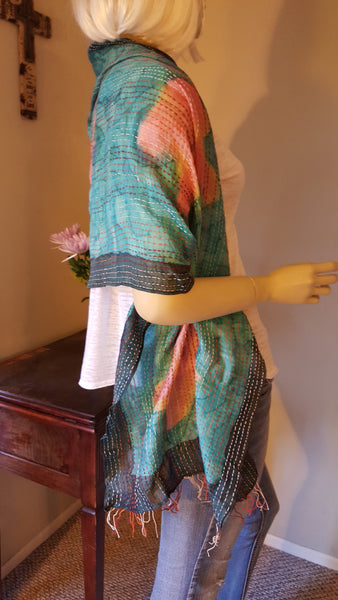 Floral Hand-dyed Woven Scarf