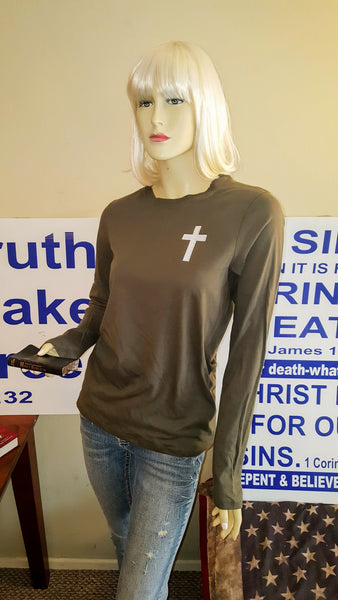 Ladies Long Sleeve Jersey Top with Cross Embroidered Patch- Army Green