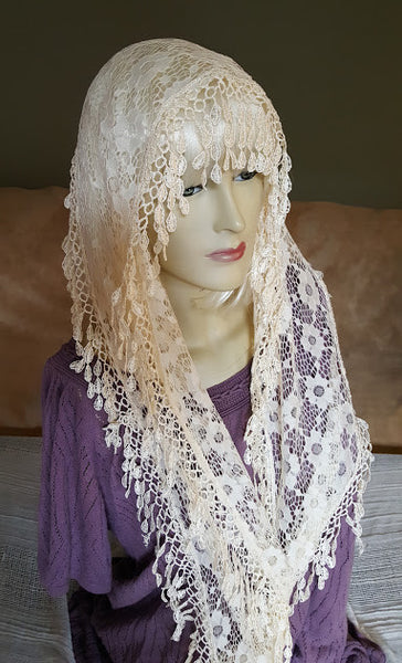 Teardrop Fringed Lace Infinity Scarf