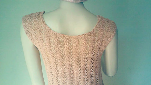 Intricate Hand Knit Beige Sweater Vest