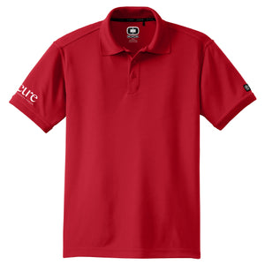 Men's Red Golf Polo-CURE Logo on Sleeve