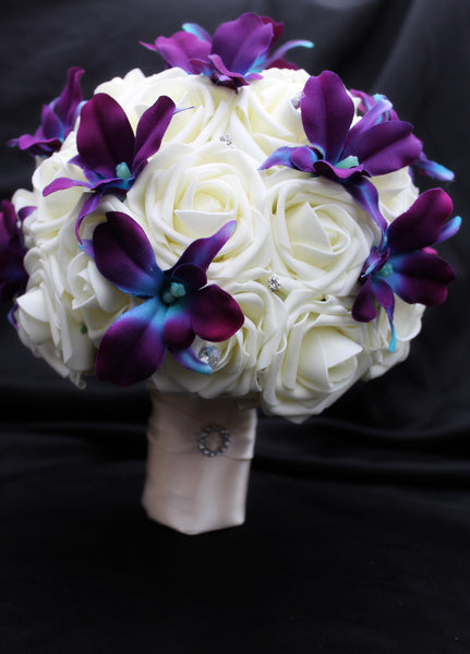 Dendrobium Orchid and Rose Wedding Bouquet Collection