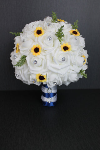 A Rose & Sunflower Wedding Bouquet Collection