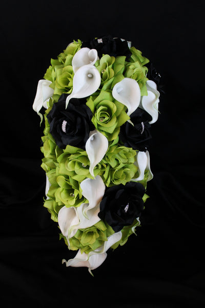 Cascading Green Rose & Calla Lily Brides Bouquet