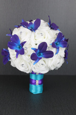 Purple Dendrobium Orchid and Rose Wedding Bouquet Collection