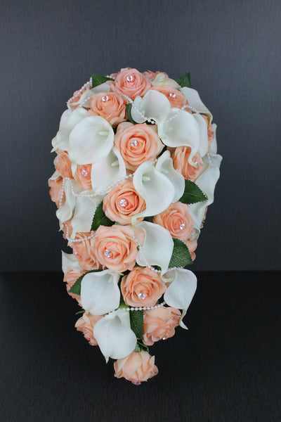 A Peach Cascading Rose & Calla Lily Brides Bouquet