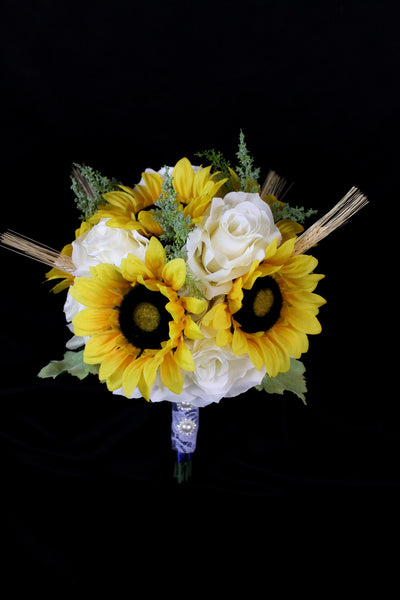 Sunflower and Wheat Brides Bouquet