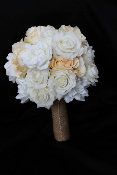 rustic wedding bouquet, wedding bouquet, rose wedding bouquet, burlap wedding bouquet