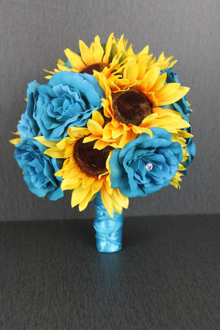 Sunflowers and Turquoise Roses