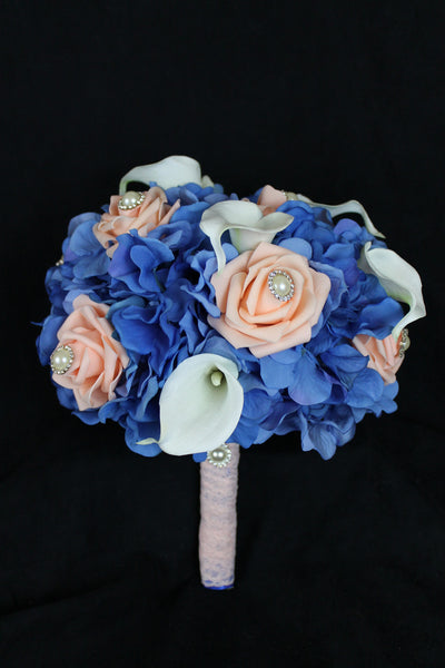 Peach Rose, Calla Lily & Hydrangea Brides Bouquet