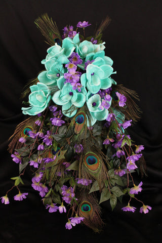 A Peacock Feather Cascading Wedding Bouquet Collection