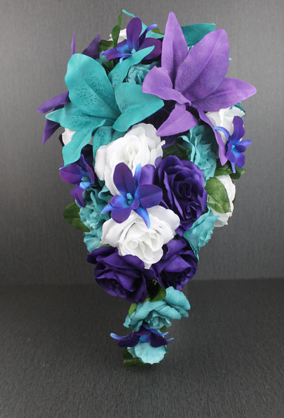 Cascading Purple & Turquoise Wedding Bouquet Collection