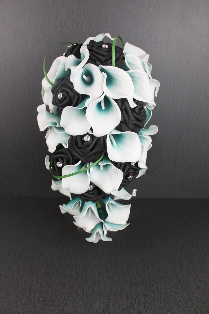 Cascading Black Rose Amp Teal Calla Lily Wedding Bouquet