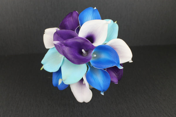 A Teal & Purple Bridesmaids Bouquet