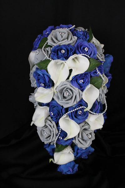 Blue Grey Cascading Rose & Calla Lily Wedding Bouquet Collection