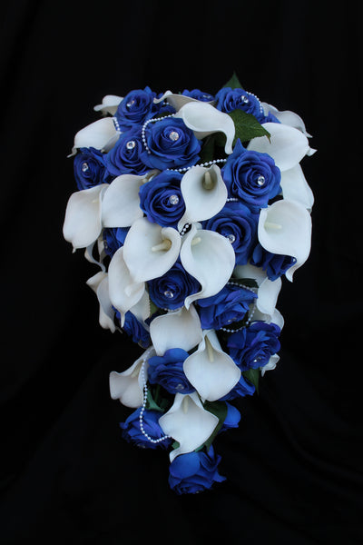 cascading wedding bouquet, teardrop wedding bouquet, blue and white wedding bouquet, calla lily and rose wedding bouquet, artificial wedding bouquet
