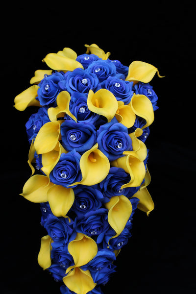 Blue & Yellow Cascading Rose & Calla Lily Wedding Bouquet Collection