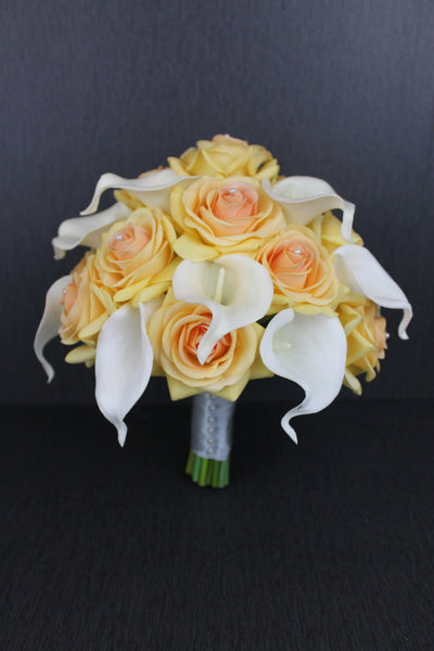 Soft Yellow and White Calla Lily Brides Bouquet