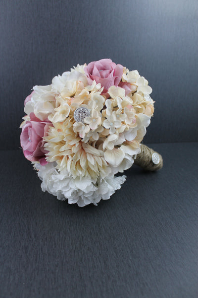 A Pink and Ivory Glam Brides Bouquet