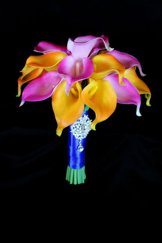Bright Tropical Calla Lily Wedding Bouquet