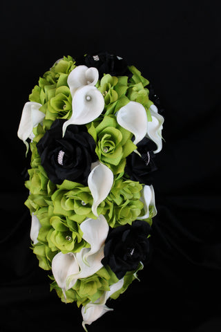 A Cascading Green Rose & Calla Lily Wedding Bouquet Collection