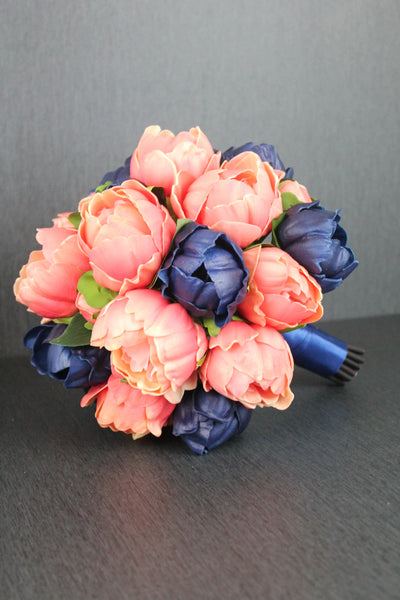 Coral and Navy Peony Brides Bouquet