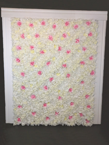 Pink & Ivory Flower Wall Rental