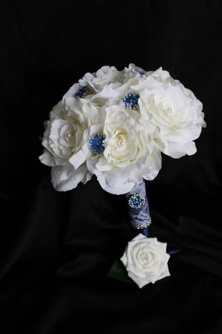 White Rose Brooch Wedding Bouquet Collection