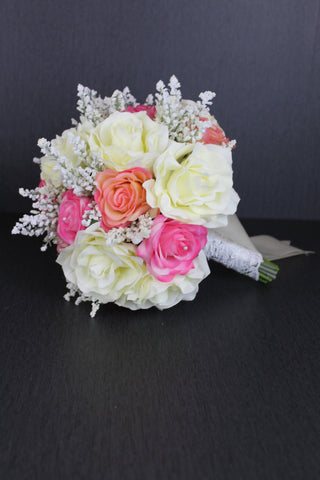Pink and Ivory Rose Wedding Bouquet Collection