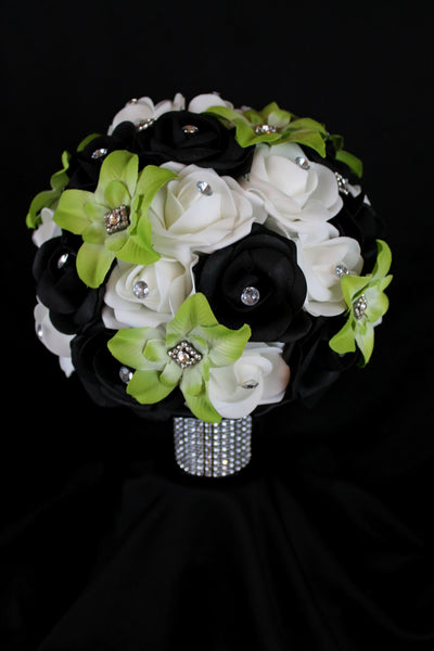 Green Orchid and Rose Wedding Bouquet Collection