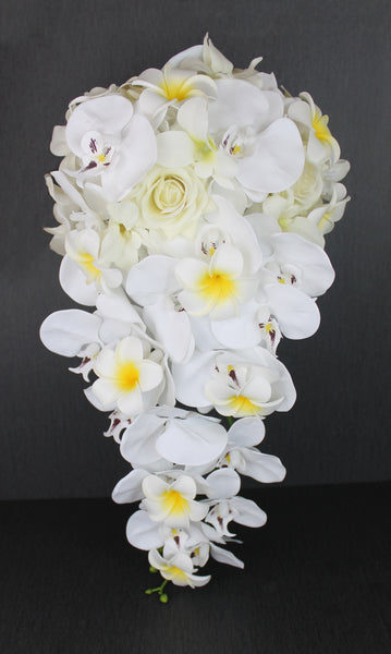 A Casacading White Orchid Bouquet Collection