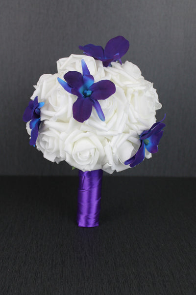 Purple Dendrobium Orchid and Rose Bridesmaids Bouquet
