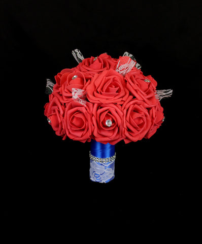 Bright Red Rose Brides Bouquet