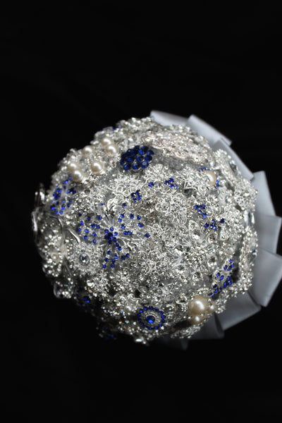 Silver and Blue Brooch Bouquet