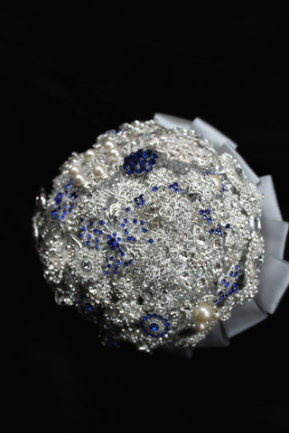 Silver and Blue Brooch Bouquet Collection