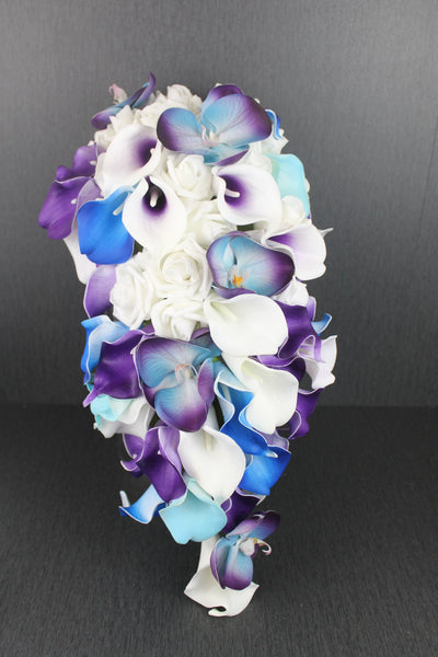 A Teal & Purple Casacading Orchid Brides Bouquet