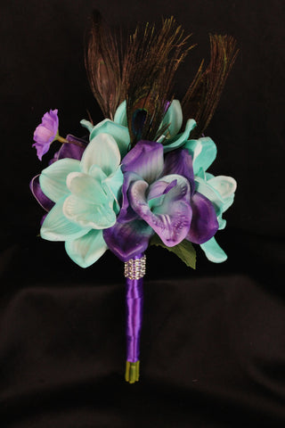 A Peacock Feather Bridesmaid Bouquet