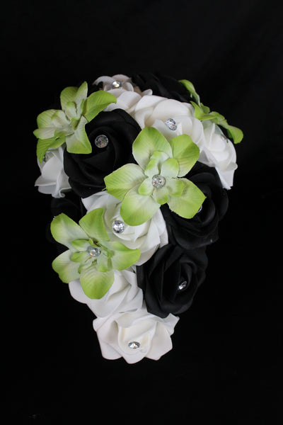Cascading Green Orchid Bridesmaid Bouquet