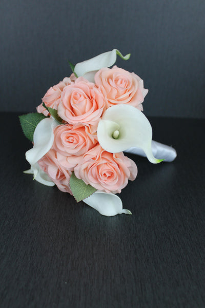 Peach Rose & Calla Lily Bridesmaids Bouquet