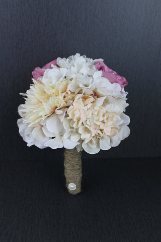A Pink and Ivory Bridesmaids Bouquet