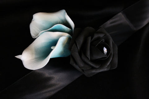 Black Rose & teal Calla Lily Corsage