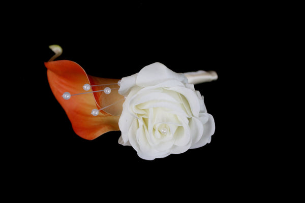 Burnt Orange Calla Lily Boutonniere