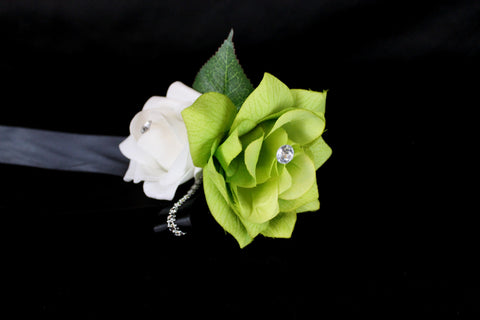 Green White Black Corsage