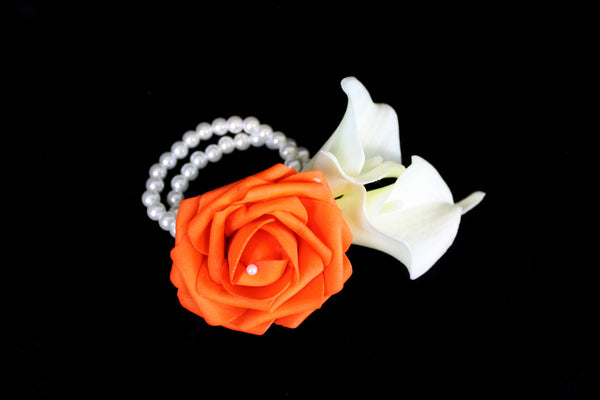 Orange Rose & Calla Lily wrist Corsage