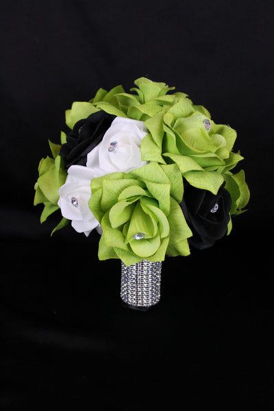 Green White Black Bridesmaid Bouquet